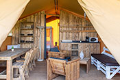 Safari tent's dinning-room and living room